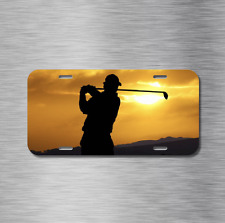 Golf Vehicle License Plate Front Auto Tag Plate Golfer Golf club Course Sunset