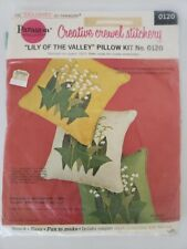 """Paragon Creative Crewel Stitchery """"Lily of The Valley"""" Pillow Kit Barbara Sparre"""