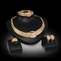 Fashion Women 18K Gold Plated Crystal Pendant Wedding Party Necklace Jewelry Set