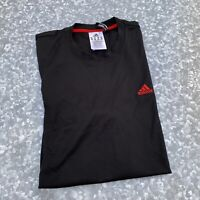 ADIDAS Mens M Climalite T Shirt Black & Red  Logo