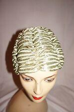 Vintage 50s 60s green woven raffia cloche style hat 55cm