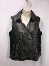 Buffalo David Bitton women L motorcycle style vest stretch black