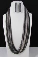 New Women Silver Black Thin Multi Chains Fashion Long Necklace Earrings Set