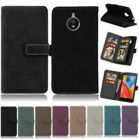 Matte 9 Card Wallet Leather Flip Case Cover For Motorola Moto G4 G5 C E4 Plus X4
