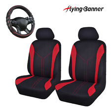mesh red car seat covers 2 fronts & 1 car steering wheel cover leather universal