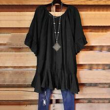 Women Casual Tunic Ruffle Blouses T Shirts Tops Irregular Hem Fashion Summer