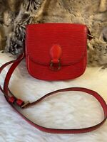 Preowned LOUIS VUITTON LV Crossbody Bag Purse In Red Textured Leather
