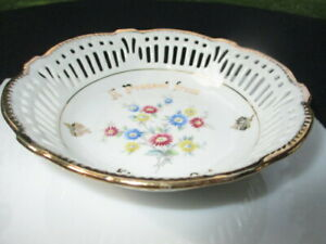 VB - ANTIQUE HP POSY FLOWERS GERMANY PORCELAIN RETICULATED MINT DISH KINGSTON