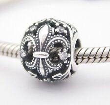 FLEUR-DE-LIS/LYS CHARM Clear CZ Bead Sterling Silver.925 f European Bracelet 920