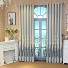 Floral Embroidered Shading Cloth Curtains Transparent Organza Sheer Tulle 1Panel
