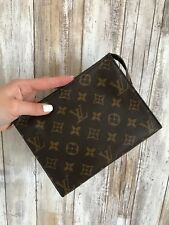 LOUIS VUITTON Toiletry 19 Brown Monogram Coated Canvas Cosmetic Bag Pouch VTG*