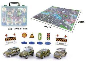 Kids Playmat City Toy Map Floor Mat 4 Cars Play Girls Boys Children MILITARY