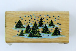 """1985 All night Media Rubber Wood Stamp """"Evergreen Boarder"""" Trees & Snow"""
