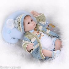 Real Life Looking 42cm Vinyl Silicone + Cloth Body Reborn Handmade Baby Doll #60
