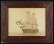 "Lg ORIG c1885 American SQUARE RIGGER sailing ship ALBUMEN PHOTO 8"" x 10½"" -EXC!!"