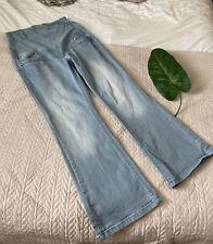 Next Maternity Womans Light Blue Slight Flare Elastic Waist Denim Jeans Sz 10s