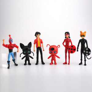 6pcs Miraculous Ladybug Tortenfiguren Set Topper Spielfiguren Geburtstagskuchen