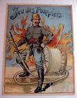 Rare 1800s French Game Box Label Great Image of Fireman Jeu des Pompiers