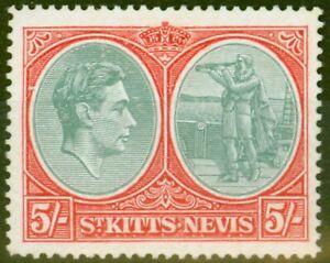 St Kitts & Nevis 1945 5s Bluish Green & scarlet SG77bd Break in Oval at Left