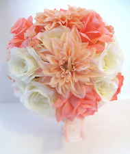 17 piece Wedding Flowers Bridal silk Bouquet PEACH CORAL BLUSH IVORY Package