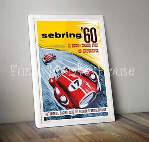 Vintage car poster racing motorsport - A4 - Sebring Grand Prix 1960