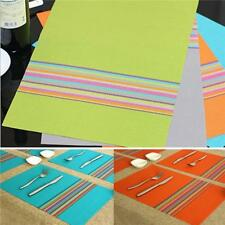 European Style Rainbow Stripe Adiabatic Placemat Dining Table PVC Mats NEW - S