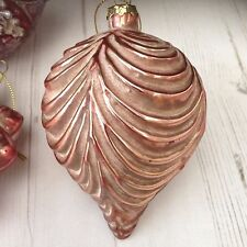 Rose Gold Glass Ornate Finial Christmas Bauble