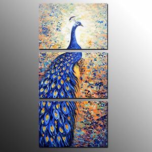 FRAMED Animal Canvas Art Print Peacock Oil Painting Home Wall Art Decor-3pcs