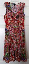 Sz XS Lauren By Ralph Lauren Red Sleeveless Ruffled V Neck Paisley Print Dress