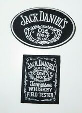 Jack Daniels Old No. 7 Black & White Iron/Sew On Embroidered Patch Set of 2