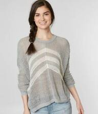 New Womans Small Daytrip Buckle Gray White Marl Open Weave Knit Pullover Sweater