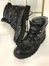 MENS HARLEY DAVIDSON MOTORCYCLE BLACK LEATHER BUCKLE ANKLE BOOTS US 8 EUR 41