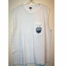 Harley Davidson Skull Palm Trees St Pete Beach White Sleeveless TShirt Sz Large
