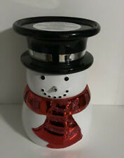 Bath & Body Works SNOWMAN Red Scarf Ceramic Pedestal 3 Wick Candle Holder NEW