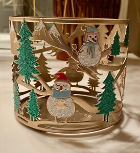 Bath & Body Works Christmas, penguin, snowman, winter scene 3 WICK candleholder