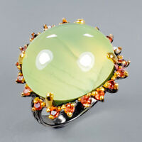 Prehnite Ring Silver 925 Sterling Vintage28ct+ Size 9.25 /R127930