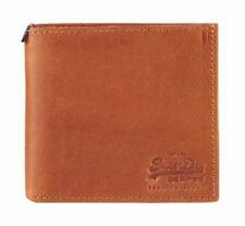 Superdry Tab Wallet In A Tin Leather Card Wallet  Juicy Tan Brown Ship Worldwide