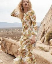 New Authentic Zimmermann Golden Tiered Ruffle Floral Print Midi Dress AU 0 1 2