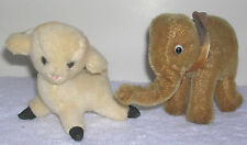 Vintage Stuffed Animal Mohair White Sheep & Elephant as Steiff Herman No buttons