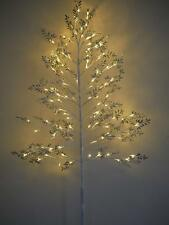 4ft Shabby Chic Frosted Glittering Silver & White Christmas Twig Tree 72 LED's