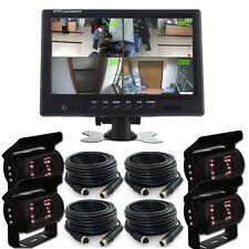 "9"" Split Quad Car Monitor 4 Video + 4x 4Pin Truck Sharp CCD Camera 24V-12V Truck"