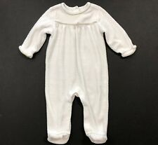 JANIE AND JACK Winter Bunny White Velour Footed Romper Size 3-6 Months