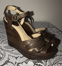 Frye Corrina Stitch Brown Leather Platform Wedge Sandals Size 7.5
