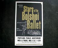 "1963 BOLSHOI BALLET Concert Poster Window Card 14x22"" vintage SOL HUROK"