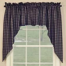 Primitive Country Navy Sturbridge Swag Curtains 72WX36L Plaid Cotton Farmhouse