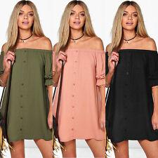 WOMENS OFF THE SHOULDER BARDOT BUTTON EVENING SHIRT DRESS TOP DRESSES UK 6-18