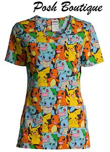NWT Pokemon Pikachu Scrub Top Shirt Men Womens Sz XS S M L XL Plus 2XL 2X 3X 3XL