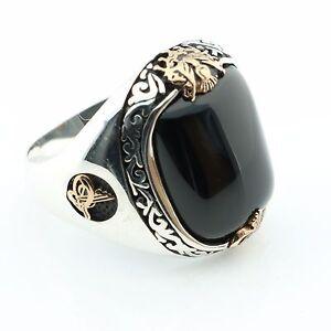 Unique 925 Sterling Silver ONYX Stone Sultan Signature Men's Ring US Seller K41D