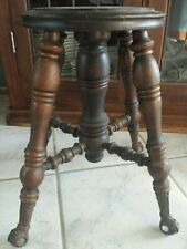 Vintage Estate Ornate Wooden Piano Organ Stool Eagle Claw & Glass Ball Feet