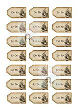 ALICE IN WONDERLAND EAT ME TAGS CUPCAKE TOPPERS X21 EDIBLE CAKE DECORATIONS